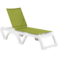 Grosfillex US476152 / US746152 Calypso White / Fern Green Stacking Adjustable Resin Sling Chaise