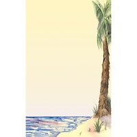 8 1/2 inch x 14 inch Menu Paper - Tropical Themed Palm Tree Design Right Insert - 100 / Pack