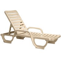 Grosfillex 44031166 / 44031066 Bahia Sandstone Stacking Adjustable Resin Chaise