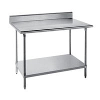 Advance Tabco SKG-305 30 inch x 60 inch 16 Gauge Super Saver Stainless Steel Commercial Work Table with Undershelf and 5 inch Backsplash