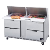 Beverage-Air SPED60-12M-4 60 inch Mega Top Four Drawer Refrigerated Salad / Sandwich Prep Table