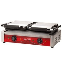 Avantco P88SG Double Grooved Top and Smooth Bottom Commercial Panini Sandwich Grill - 120V, 3500W