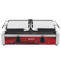 Avantco P85S Double 8 inch x 8 inch Smooth Top & Bottom Commercial Panini Sandwich Grill - 120V, 3500W