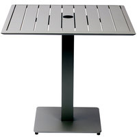 BFM Seating DVS3232TSU South Beach 32 inch x 32 inch Outdoor / Indoor Square Tabletop and Table Base with Umbrella Hole