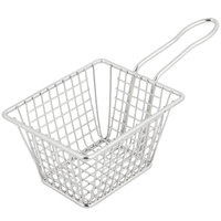 "5"" x 4"" x 3"" Rectangular Stainless Steel Fry Basket"