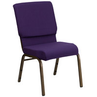 Royal Purple 18 1/2 inch Wide Church Chair with Gold Vein Frame