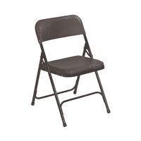National Public Seating 810 Black Metal Folding Chair with Black Plastic Seat