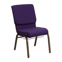 Royal Purple 18 1/2 inch Wide Church Chair with Communion Cup Book Rack - Gold Vein Frame