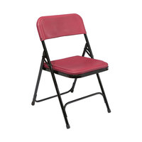 National Public Seating 818 Black Metal Folding Chair with Burgundy Plastic Seat