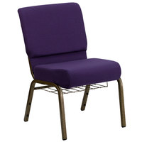 Royal Purple 21 inch Extra Wide Church Chair with Communion Cup Book Rack - Gold Vein Frame