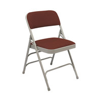 National Public Seating 2308 Gray Metal Folding Chair with 1 1/4 inch Majestic Cabernet Fabric Padded Seat
