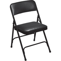 National Public Seating 1210 Black Metal Folding Chair with 1 1/4 inch Caviar Black Vinyl Padded Seat