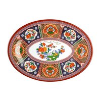 Peacock 9 inch x 6 5/8 inch Oval Melamine Platter - 12 / Pack