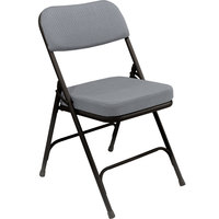 National Public Seating 3212 Black Metal Folding Chair with 2 inch Charcoal Gray Fabric Padded Seat
