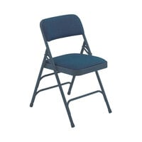 National Public Seating 2304 Char-Blue Metal Folding Chair with 1 1/4 inch Imperial Blue Fabric Padded Seat