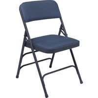 National Public Seating 1304 Char-Blue Metal Folding Chair with 1 1/4 inch Dark Midnight Blue Vinyl Padded Seat
