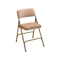 National Public Seating 1201 Beige Metal Folding Chair with 1 1/4 inch French Beige Vinyl Padded Seat