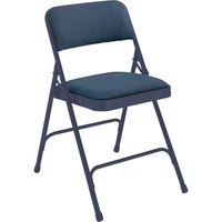 National Public Seating 2204 Char-Blue Metal Folding Chair with 1 1/4 inch Imperial Blue Fabric Padded Seat