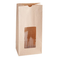 8 lb. Brown Paper Cookie / Coffee / Donut Bag with Window 6 inch x 4 inch x 12 1/2 inch - 500 / Case