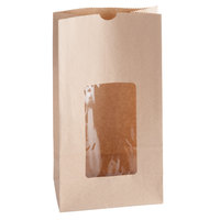 6 lb. Brown Paper Cookie / Coffee / Donut Bag with Window 6 inch x 3 1/2 inch x 11 1/8 inch - 500 / Case