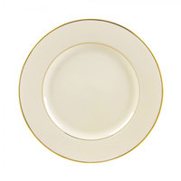 10 Strawberry Street CGLD0004 7 3/4 inch Cream Double Gold Line Salad / Dessert Plate - 24/Case