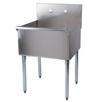 Regency 24 inch 16-Gauge Stainless Steel One Compartment Commercial Sink without Drainboard - 24 inch x 21 inch x 14 inch Bowl