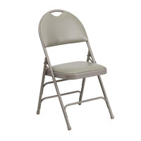 Gray Metal Folding Chair with 1 inch Padded Vinyl Seat - with Easy-Carry Handle