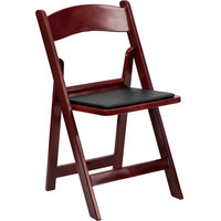 Red Mahogany Plastic Folding Chair with Black Vinyl Padded Seat