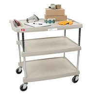Metro myCart MY2030-34G Gray Utility Cart with Three Shelves and Chrome Posts – 24 inch x 34 inch