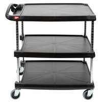 Metro myCart MY2030-34BU Black Utility Cart with Three Shelves and Chrome Posts - 24 inch x 34 inch