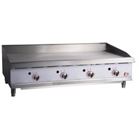 Cooking Performance Group G48T 48 inch Gas Countertop Griddle with Thermostatic Controls - 120,000 BTU