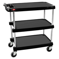 Metro myCart MY1627-34BL Black Utility Cart with Three Shelves and Chrome Posts - 18 inch x 32 inch