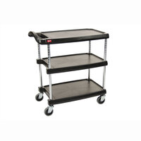 Metro myCart MY2636-35BL Black Utility Cart with Three Shelves and Chrome Posts – 28 inch x 40 inch