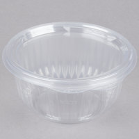 Dart Solo C16HBF PresentaBowls 16 oz. Clear Hinged Plastic Bowl with Flat Lid - 300/Case