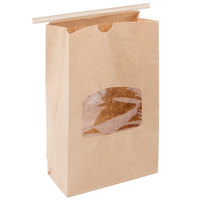 Brown Customizable Paper Cookie / Coffee / Donut Bag with Window and Tin Tie Closure 6 inch x 2 3/4 inch x 9 1/2 inch - 500/Case