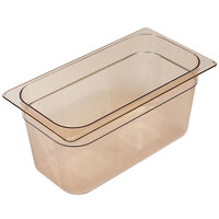 Rubbermaid FG218P00AMBR 1/3 Size Amber High Heat Food Pan - 6 inch Deep