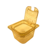 Rubbermaid FG206P00AMBR 1/6 Size Amber High Heat Food Pan - 6 inch Deep