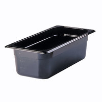 Rubbermaid FG217P00BLA 1/3 Size Black High Heat Food Pan - 4 inch Deep