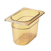 Rubbermaid FG201P00AMBR 1/9 Size Amber High Heat Food Pan - 4 inch Deep