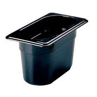 Rubbermaid FG201P00BLA 1/9 Size Black High Heat Food Pan - 4 inch Deep