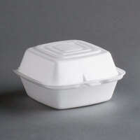 Dart Solo 50HT1 5 inch x 5 inch x 3 inch White Foam Hinged Lid Container 500/Case
