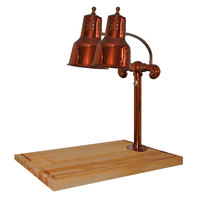 Hanson Heat Lamps DLM/MB-2418/SC Dual Lamp 24 inch x 18 inch Smoked Copper Carving Station with Maple Block and Gravy Lane