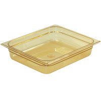 Rubbermaid FG223P00AMBR 1/2 Size Amber High Heat Food Pan - 2 1/2 inch Deep