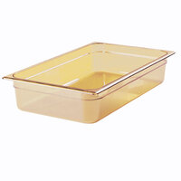 Rubbermaid FG240P00AMBR 1/2 Size Long Amber High Heat Food Pan - 4 inch Deep
