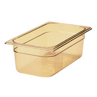 Rubbermaid FG211P00AMBR 1/4 Size Amber High Heat Food Pan - 4 inch Deep