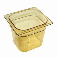 Rubbermaid FG200P00AMBR 1/9 Size Amber High Heat Food Pan - 2 1/2 inch Deep