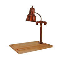Hanson Heat Lamps SLM/MB-2418/SC Single Lamp 24 inch x 18 inch Smoked Copper Carving Station with Maple Block Base and Gravy Lane