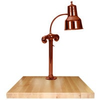 Hanson Heat Lamps SLM/MB-2424/SC Single Lamp 24 inch x 24 inch Smoked Copper Carving Station with Maple Block Base