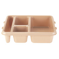 Cambro 9114CW133 Camwear 9 inch x 11 inch Beige 4 Compartment Meal Delivery Tray - 24 / Case