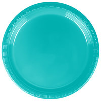 Creative Converting 28111011 7 inch Tropical Teal Plastic Lunch Plate - 240 / Case